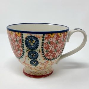 Anthropologie Floral Paisley Footed Tea Cup